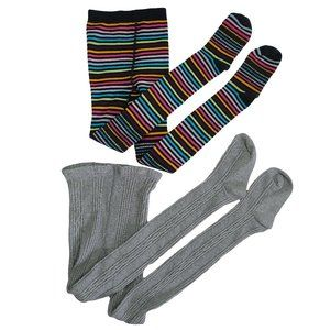 ☘️3/$30☘️ 2 Pairs of Girls Knit Tights Gray Stripe